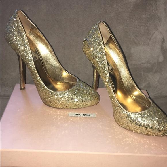 Miu Miu Shoes | Miu Miu Sparkly Gold